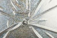 Luxury Elastic Snakeskin Foil Fabric Material - SILVER
